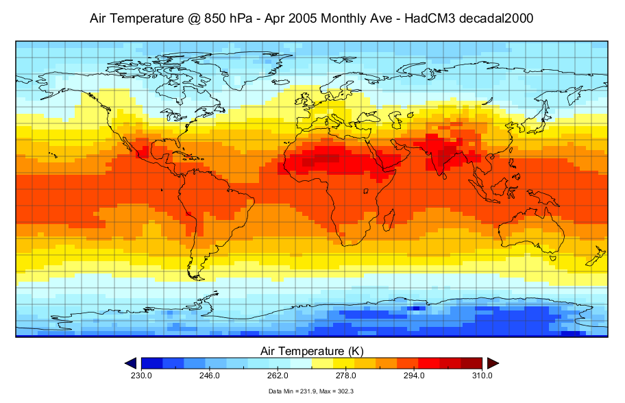 Air Temperature @ 850 hPa - Apr 2005 Monthly Ave - HadCM3 decadel2000