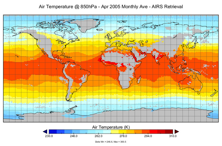 Air Temperature @ 850hPa - Apr 2005 Monthly Ave - AIRS Retreival