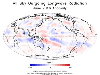 This animation shows the monthly AIRS Outgoing Longwave Radiation anomoly.