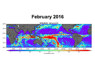 Monthly oceanic precipitation totals (in millimeters)